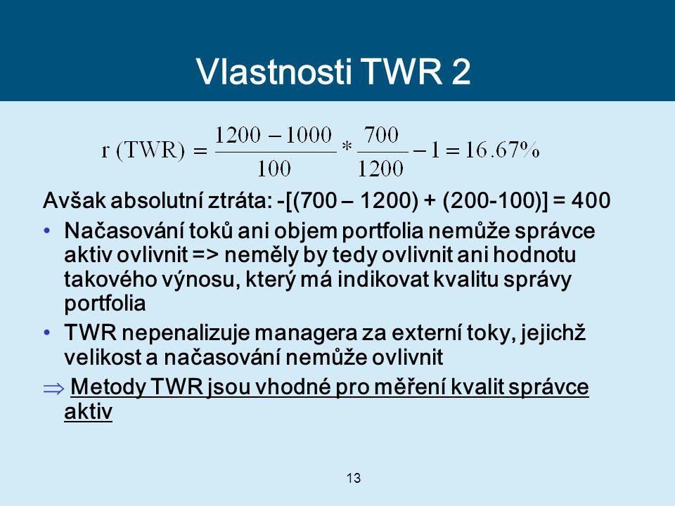 Vlastnosti TWR 2 Avšak absolutní ztráta: -[(700 – 1200) + (200-100)] = 400.